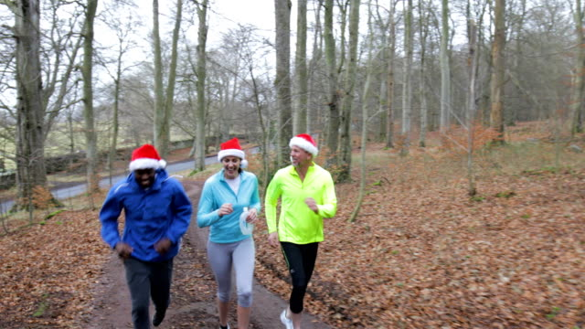 Three Joggers Up the Trails in the Forest at Christmas