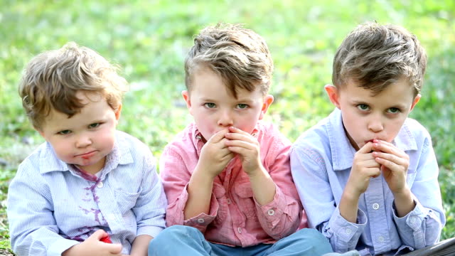 three little boys eating strawberries - family with three children stock videos & royalty-free footage