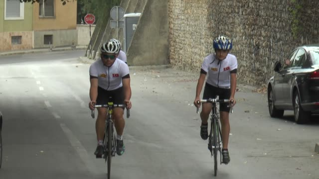 three macedonian cyclists set off for istanbul from capital skopje on sunday to honor turkey's martyrs of july 15 defeated coup. the cyclists said... - do something organization stock videos & royalty-free footage