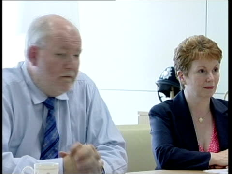 three main parties discuss new terrorist laws; england: london: home office: int cms charles clarke mp and hazel blears mp at roundtable meeting on... - hazel eyes stock videos & royalty-free footage