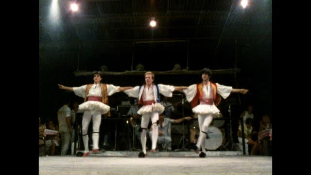 three male greek dancers perform on stage; 1986 - greek culture stock videos & royalty-free footage