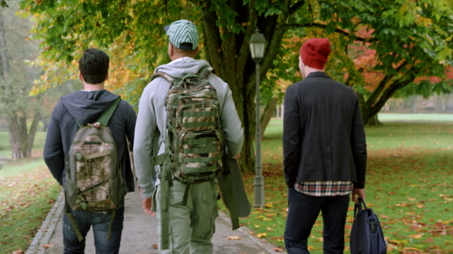 three male students talking walking through the park on a fall morning - città universitaria video stock e b–roll