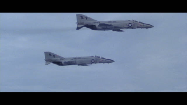 ms pan zi three marine f-4 grey phantom military jet airplanes in flight - 1978 stock videos and b-roll footage