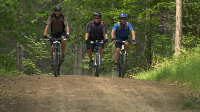 WS Three men cycling on dirt road in Bedgebury Forest / Kent, England, UK
