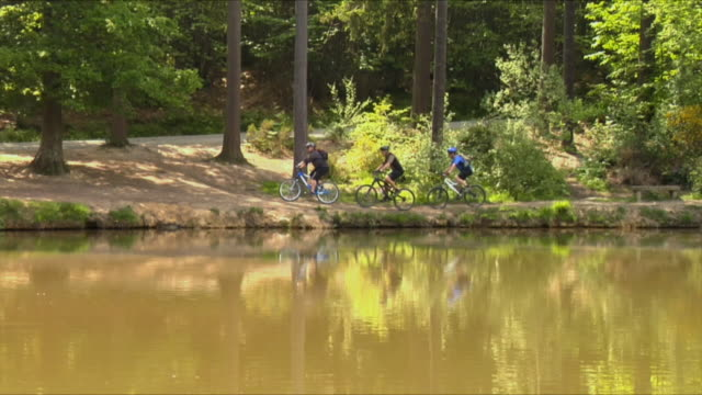 vídeos de stock e filmes b-roll de ws pan three men cycling through woods near lake, then lean bikes against tree and rest on bench in bedgebury forest / kent, england, uk  - sentar se