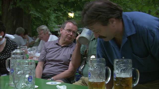 ms three men drinking beer at beer garden, englischer garten (english garden), munich, bavaria, germany - ミュンヘン エングリッシャーガルテン点の映像素材/bロール