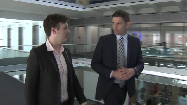 three men found guilty of sex offences againt boys at swaylands school in kent london gir andrew lord setup shot along with reporter / interview sot - グジャラート州点の映像素材/bロール
