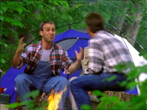 three men sitting around campfire bragging about size of fish they caught + smiling / tent in background - fischer stock-videos und b-roll-filmmaterial