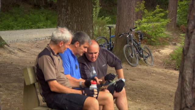 ms three men sitting on bench, reading map and drinking water from water bottles in bedgebury forest / kent, england, uk - see other clips from this shoot 1036 stock videos and b-roll footage