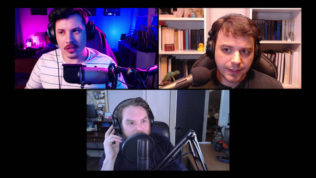 three men speak into microphones while recording a podcast - alpha channel stock videos & royalty-free footage