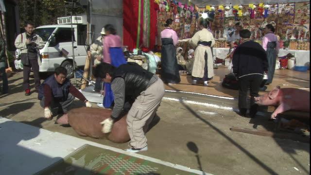 three men tie up a pig at a market. - schwein stock-videos und b-roll-filmmaterial