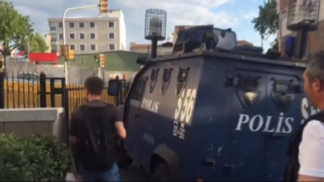 three military personnel who allegedly took part in a military coup and injure several people by a tank are escorted by police members as they leave... - staatsstreich stock-videos und b-roll-filmmaterial