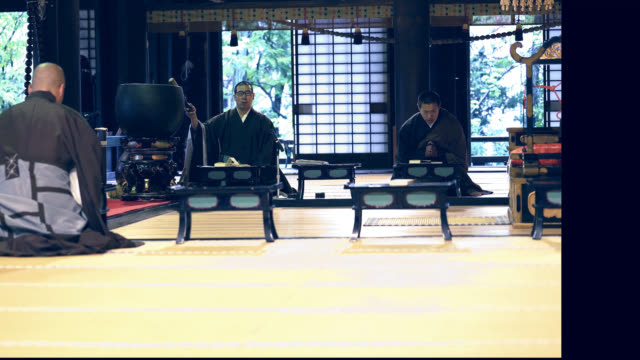 three monks began to praying in a japanese temple - tatami mat stock videos and b-roll footage