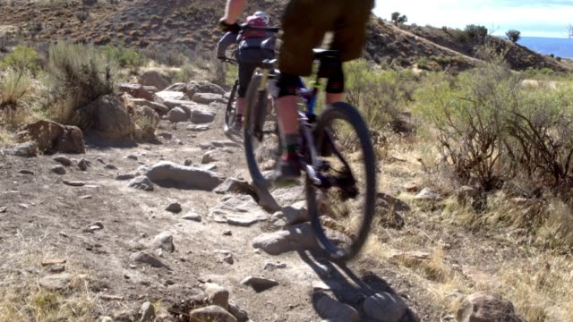 three mountain bikers with a dog ride over rocks on the 18 road trail in fruita, colorado - andare in mountain bike video stock e b–roll