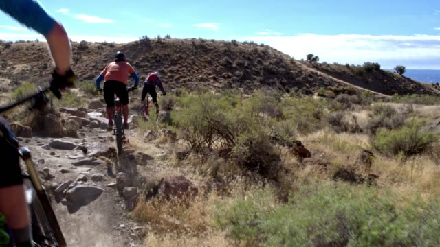three mountain bikers with a dog ride over rocks on the 18 road trail in fruita, colorado - mountain biking stock videos & royalty-free footage