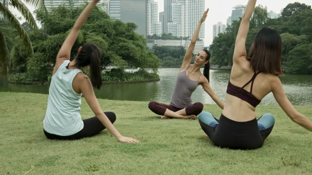 Three multi-ethnic friends doing yoga at park
