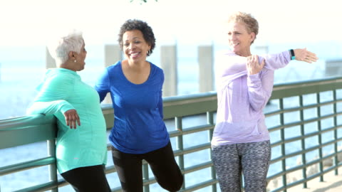 three multi-ethnic mature and senior women exercising - sports clothing stock videos & royalty-free footage