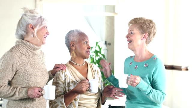 three multi-ethnic senior women conversing over coffee - only senior women stock videos & royalty-free footage