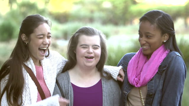three multi-ethnic teenage girls, one with down syndrome - 14 15 years stock videos & royalty-free footage