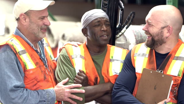 three multi-ethnic workers in carpet warehouse - human age stock videos & royalty-free footage