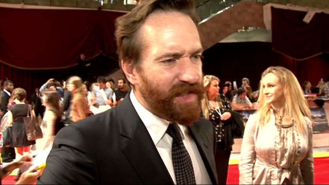 'Three Musketeers' film premiere red carpet arrivals and interviews Matthew Macfadyen interview SOT on film being mischievous / On James Corden being...