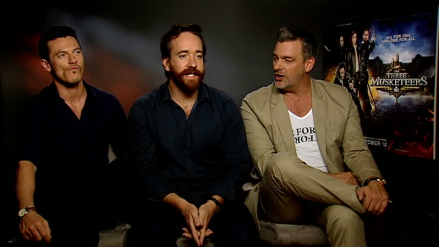 'Three Musketeers' film released interviews with cast Luke Evans Matthew MacFadyen and Ray Stevenson interview SOT On bonding / On being best mates /...