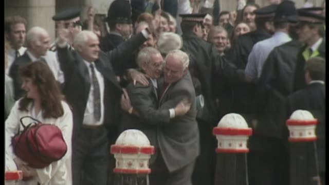 'three musketeers' terror plot lawyer warns of miscarriage of justice s17010802 1712008 old bailey freed and jubilant 'birmingham six' leaving court... - releasing stock videos & royalty-free footage