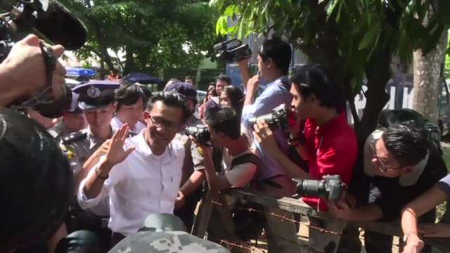 three myanmar journalists accused of incitement appear in court before being granted bail - bail cricket stump stock videos & royalty-free footage