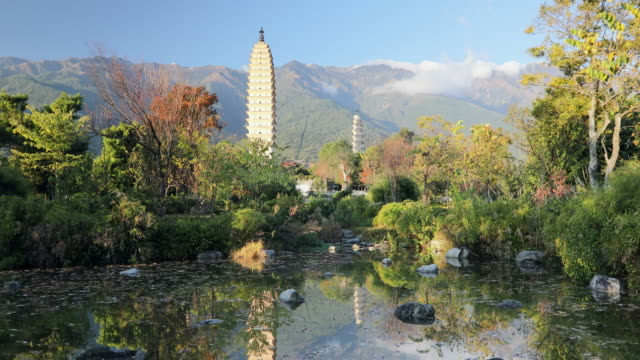 three pagodas, dali, yunnan, china, asia - pagoda stock videos & royalty-free footage