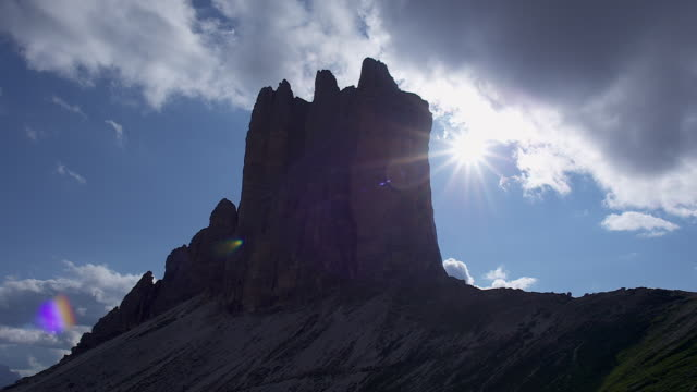 three peaks from the backside - tre cimo di lavaredo stock videos & royalty-free footage
