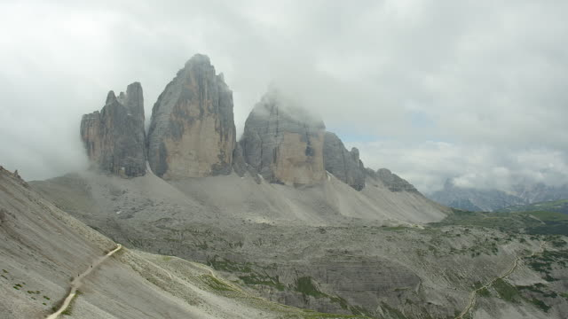 three peaks veiled in clouds - tre cimo di lavaredo stock videos & royalty-free footage