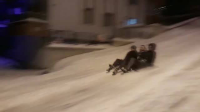 three people enjoy sliding on the snow were injured after being struck by a car in giresun, northern turkey on february 09, 2020. the incident... - rutschen stock-videos und b-roll-filmmaterial