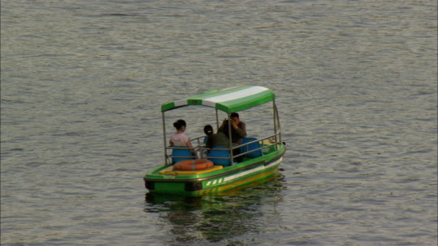 ws three people in pedal boat on lake houhai, beijing, china - pedal boat stock videos and b-roll footage