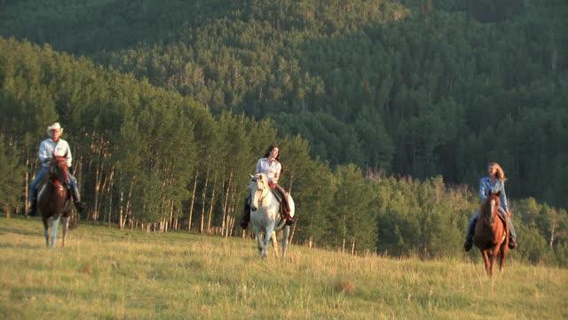 vídeos de stock, filmes e b-roll de zo, ws, three people riding horsed in grassland, mountains in background, usa - montar um animal