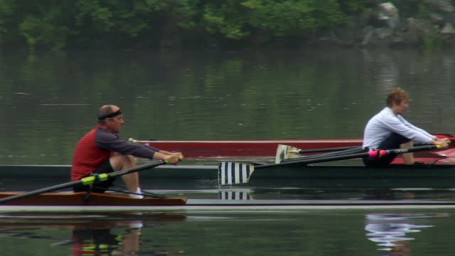 ws pan td three people rowing side by side in single sculls on the connecticut river at dawn/ hanover, new hampshire, usa - side by side stock videos and b-roll footage