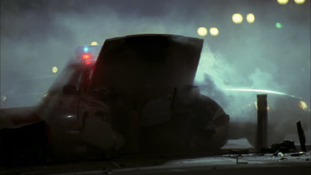 PAN Three police cars crashing into barricade as officers run to assist / Washington, D.C., United States