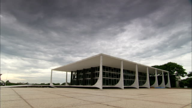Three Powers Square surrounds Brasilia's contemporary Supreme Federal Court Building. Available in HD.