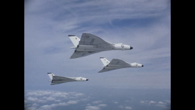 1959 three raf avro vulcan jets flying in formation - supersonic airplane stock videos and b-roll footage