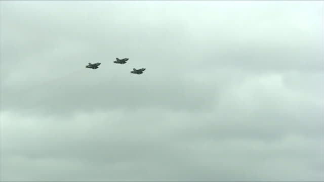 three raf tornado fighter jets making farewell flypast before it is retired - 三つ点の映像素材/bロール