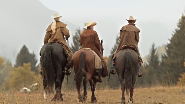 ds tu three ranchers talking while riding horses across meadow - rancher stock videos & royalty-free footage