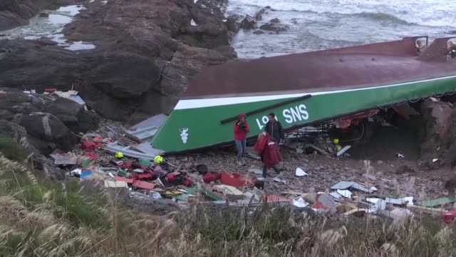 three rescuers from the french ocean rescue service died friday when their vessel capsized in rough seas as storm miguel pummelled the atlantic coast - capsizing stock videos and b-roll footage