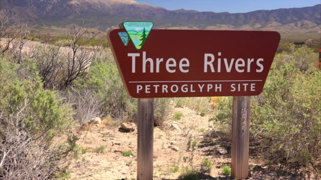 three rivers petroglyph site sign in new mexico - cave painting stock videos & royalty-free footage