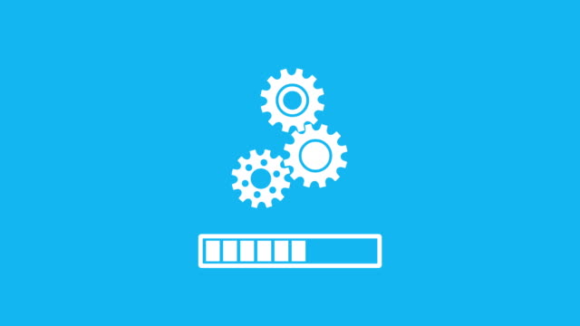 three rotating gear mechanism with a progress bar indicator - three objects stock videos & royalty-free footage