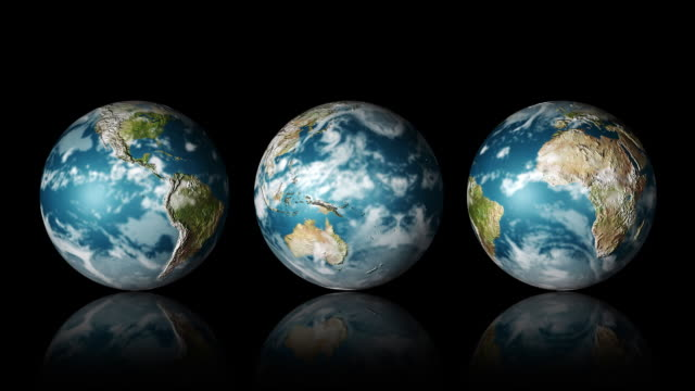 cgi, three rotating globes against black background - small group of objects stock videos & royalty-free footage
