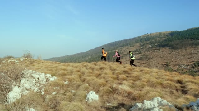 aerial three runners running on a grassy mountain ridge early in the morning - cross country running stock videos & royalty-free footage
