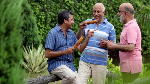 Three senior men eating corn cob in the park, Delhi, India