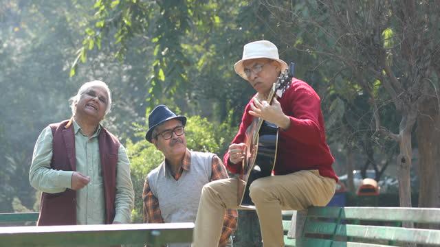 three senior men playing guitar and having fun at park - musical instrument stock videos & royalty-free footage