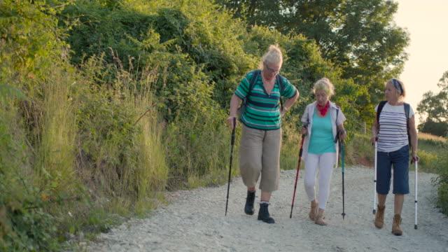 vídeos y material grabado en eventos de stock de tres excursionistas senior femenino caminar el camino de piedra triturado - bastón de senderismo