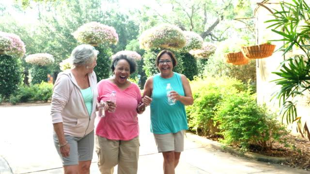 tre donne anziane che camminano, parlano, ridono al parco - 60 69 anni video stock e b–roll
