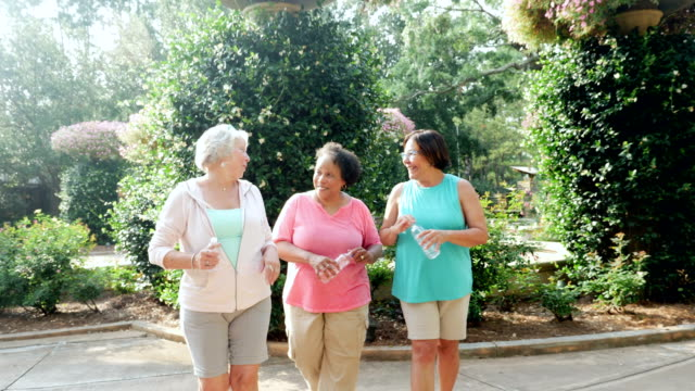 three senior women walking, talking, laughing at park - overweight active stock videos & royalty-free footage